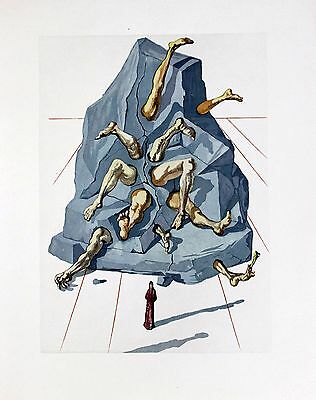 Salvador Dali Original Woodblock Engraving Hell 26 Divine Comedy 1960 COA for sale  Victoria