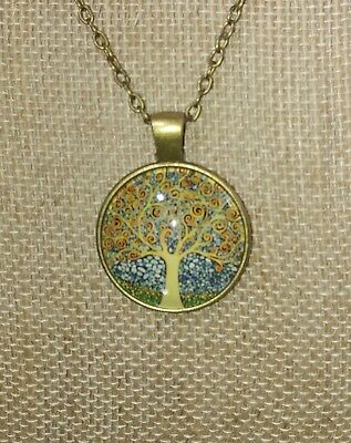 Tree Of Life Healing Pendant Necklace Glass Cabochon
