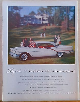 Vintage 1957 magazine ad for Oldsmobile - Starfire 98 Holiday Sedan color photo