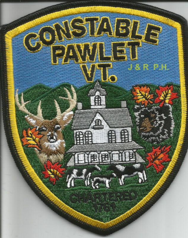 """Pawlet - Constable, Vermont  (4"""" x 5"""" size)   shoulder police patch (fire)"""