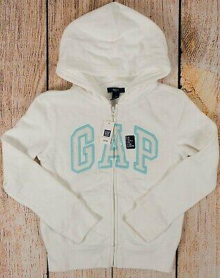 NWT Girls GAP Kids Zipper Hoodie Sweatshirt New Off White w/Sparkle Logo -539325