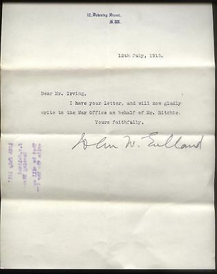 1915 No 12 DOWNING STREET, LETTER FROM JOHN W. GULLAND, CHIEF WHIP TO ASQUITH.