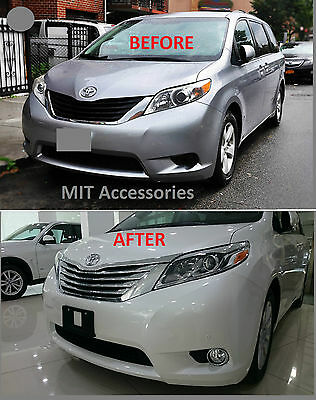 MIT for TOYOTA SIENNA 2011-2016 Front grill chrome cover trim garnish ABS 5pcs