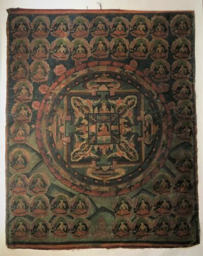 LARGE VINTAGE CHINESE TIBETAN THANGKA BUDDHA, LATE 19TH C - EARLY 20TH C