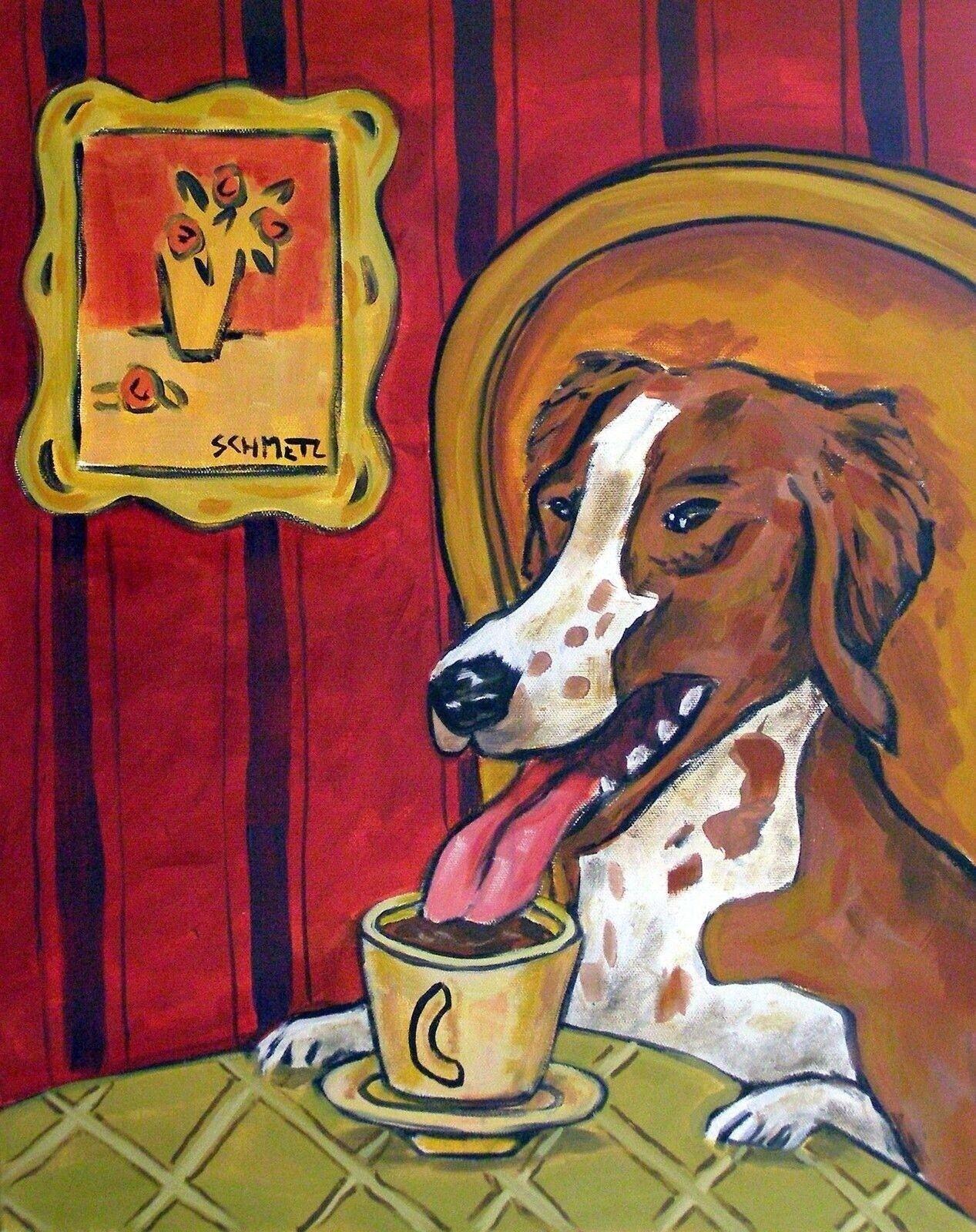 pit bull terrier  dog folk pop art painting   gift coffee    8.5x11 glossy photo