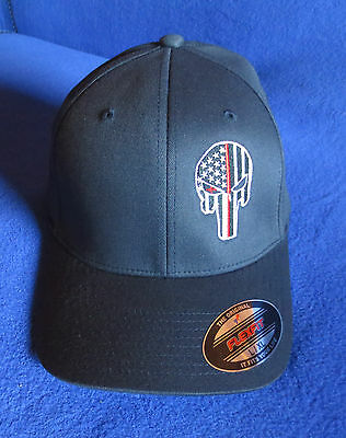 Thin Red Line Thin Blue Line Punisher Ball Cap Firefighter Police - Fireman Hat
