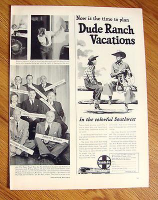 1949 Santa Fe Railroad Ad Dude Ranch Vacation Southwest