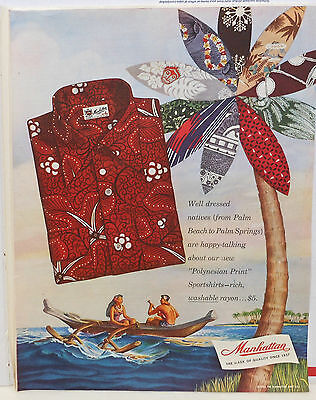 1950 magazine ad for Manhattan Polynesian Print shirts - couple in outrigger