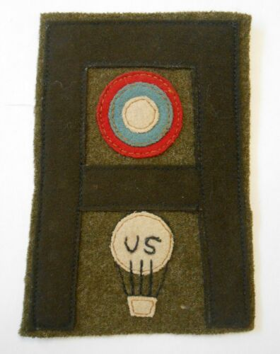 "Orig WWI 1st Army Balloon Pilot Patch 4.5"" Wool Used in Aviation Insignia Book"