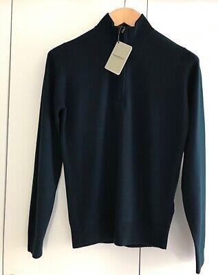 John Smedley Men's Tapton Half Zip Jumper Merion Wool in Orion Green Size Medium