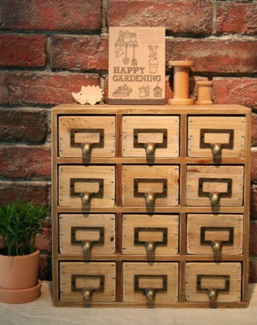 Shabby Chic Vintage Rustic 12 Drawer Wooden Storage Desk Tidy Chest 35x15x34cm