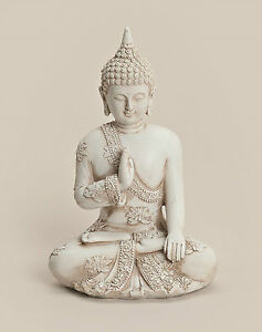Thai Buddha Budda Figur Statue Feng Shui Asia Lotussitz sitzend weiß ca. 20 cm