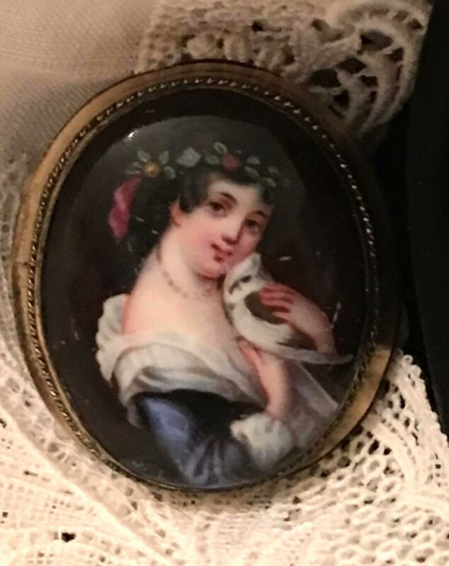 Antique Portrait Brooch Pendant Hand Painted Porcelain Victorian Lady Bird Pin