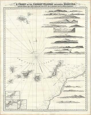 1867 Norie and Wilson Nautical Chart or Map of the Canary Islands and Maderia