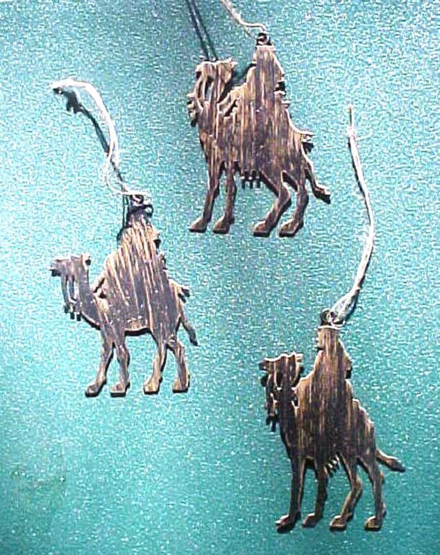 Miniature Metal 3 Wisemen Nativity Christmas Ornaments + Gifts & Envelopes