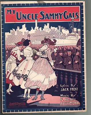 My Uncle Sammy Gals 1918 Large Format Sheet Music