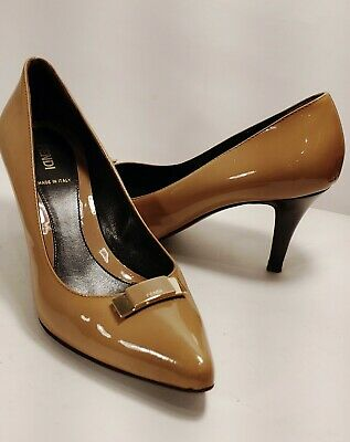 FENDI Caramel Patent Leather Pumps Women's Size EUR 39/US 8.5 *XLNT* Italy