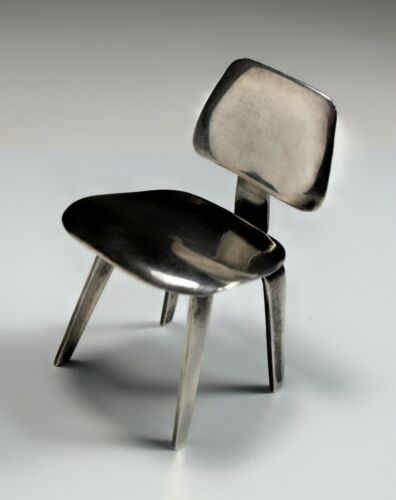 Miniature Eames Lounge Chair LCW MCM Sterling Silver Modernism ACME Studio 1990