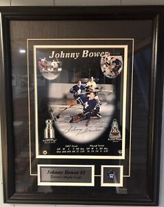 Authentic Johnny bower autographed 8 X 10 framed photograph