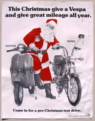 Christmas 1979 VESPA Scooter and Moped Adverstising Poster with Santa Claus