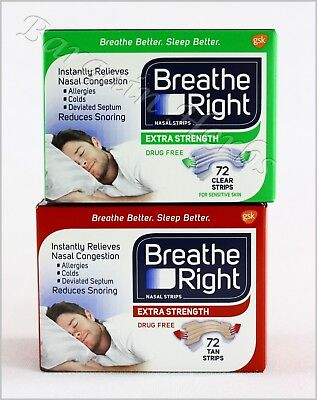 Breathe Right Nasal Strips Extra 72 Strips Tan/Clear New Sealed Free Shipping Breathe Right Nasal Strips