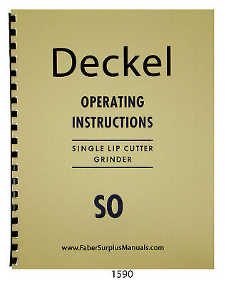 Deckel Single Lip Cutter Grinder So Operating Instruction Manual 1590