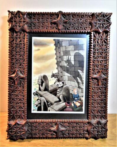 Wonderful Folk Art TRAMP ART chipcarved PICTURE FRAME Perfect [Boston Primitive]