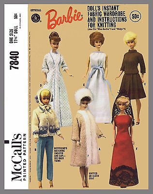 Mccalls Knitting Patterns - Vintage McCall's Barbie Doll Clothes Fabric Sewing Knitting Pattern #7840