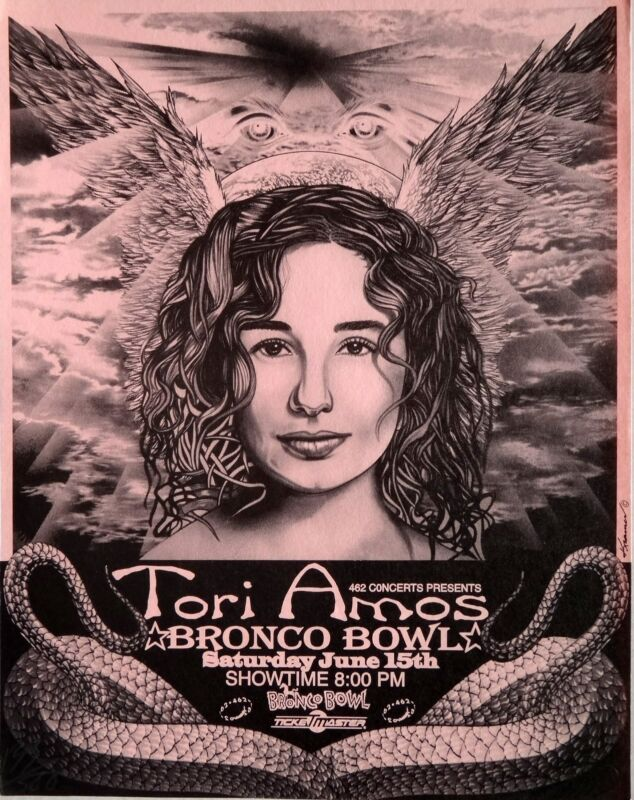 "TORI AMOS 1996 ""BRONCO BOWL"" DALLAS CONCERT TOUR POSTER - Face Shot & Snakeskin"