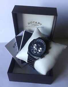 Rotary Men's Chronograph Black Strap Watch Quartz: Battery GB03778/04 3569B+