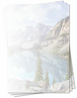 Motivpapier Briefpapier (Berge-5164, DIN A4, 25 Blatt) See im Gebirge Sommer