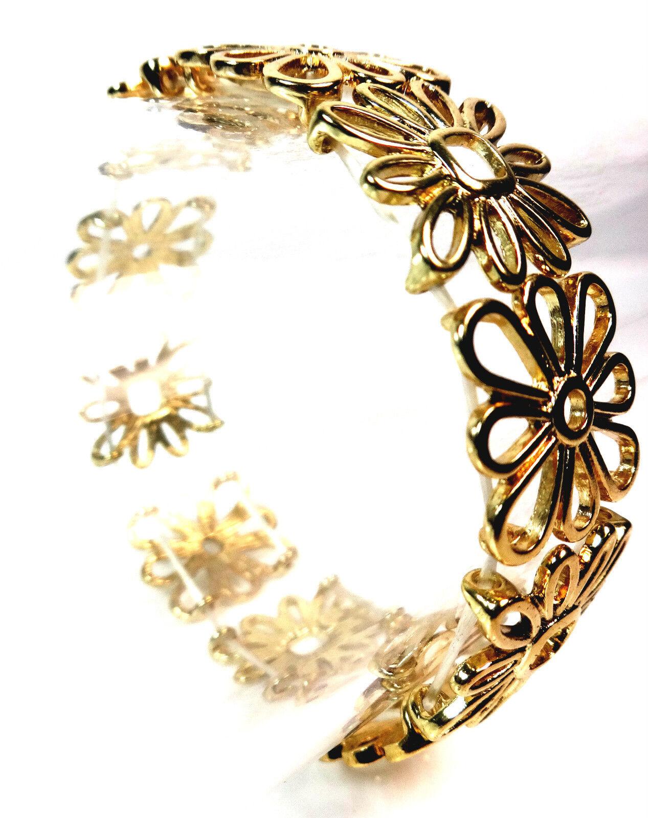 ELEGANT GOLD FLOWER BRACELET BANGLE CUTE CHIC CLASSY LIGHT BRAND NEW CL4