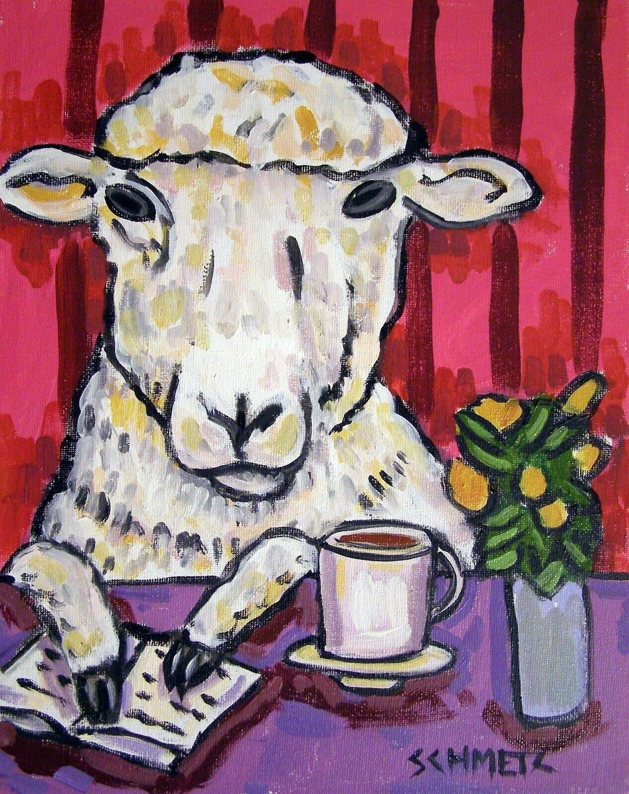 sheep art  folk Art PRINT 8x10 JSCHMETZ modern gift giclee coffee pop art