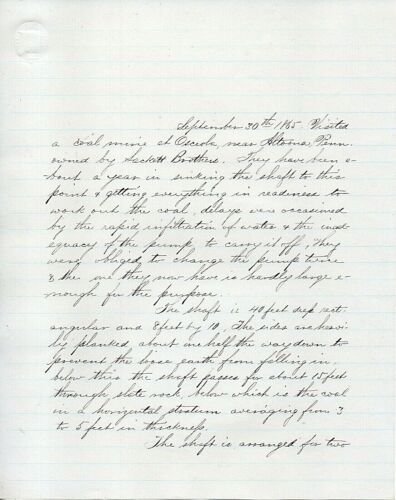 62116. Journal of Travel Summer 1865 Frederick E Hyde Pennsylvania Coal & Steel