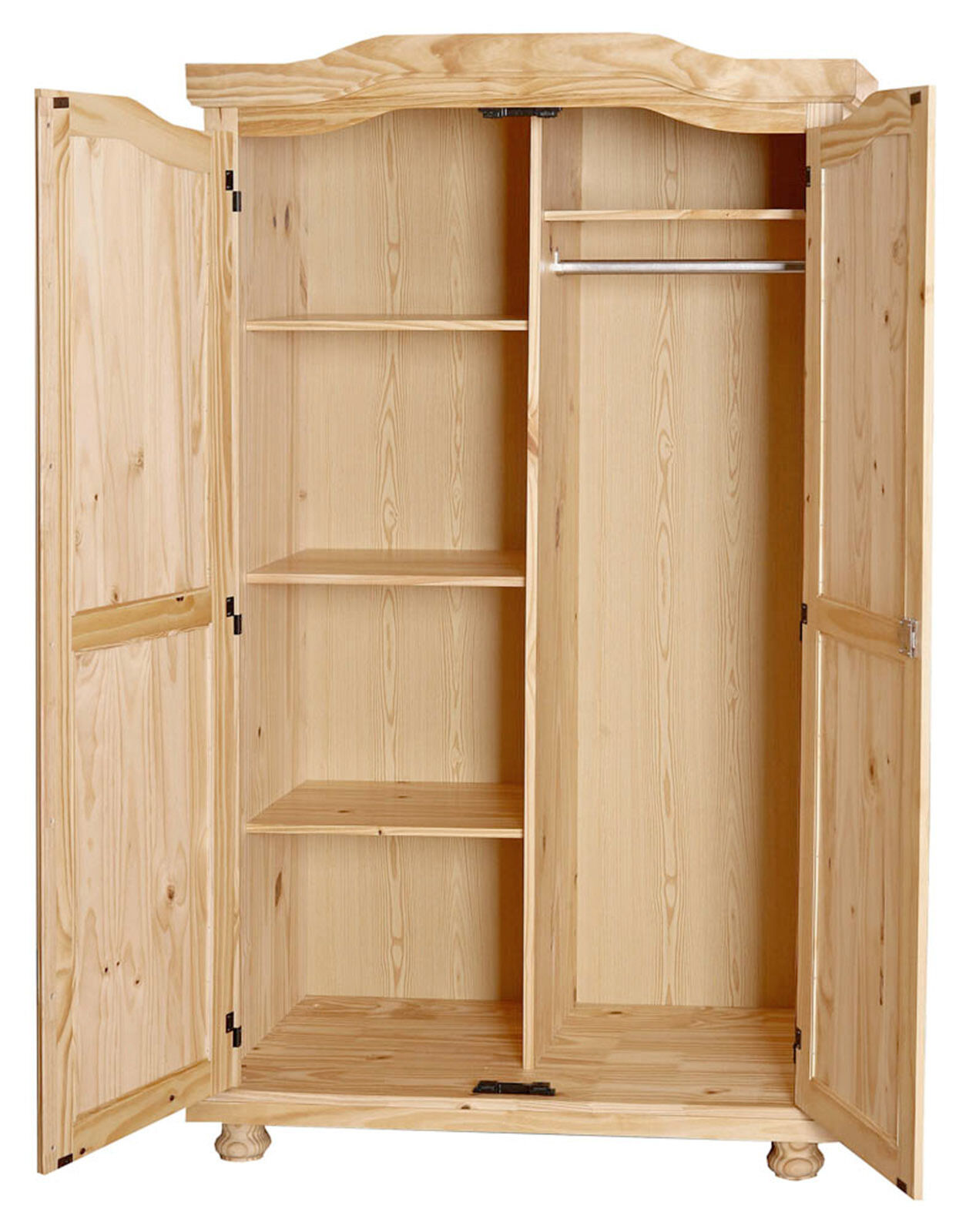 armoire penderie dressing rangement chambre vintage 2 portes pin massif naturel eur 285 78. Black Bedroom Furniture Sets. Home Design Ideas