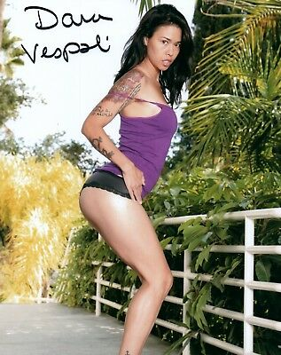 Dana Vespoli Purple Top Black Panties Adult Model Signed 8x10 Photo COA Proof 84