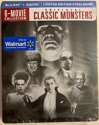 UNIVERSAL CLASSIC MONSTER 6 MOVIE COLLECTION BLU RAY WALMART EXCLUSIVE STEELBOOK