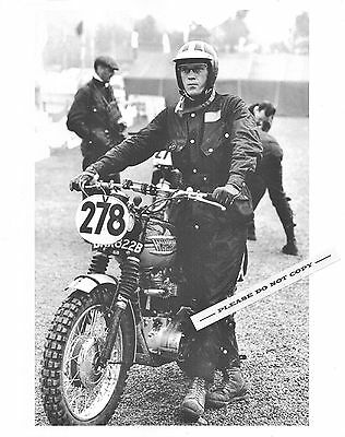 1964 TRIUMPH MOTORCYCLE PHOTO STEVE MCQUEEN ISDT TROPHY-650 TR6 BARBOUR JACKET
