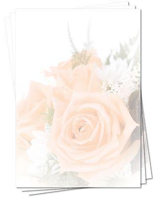 Motivpapier Briefpapier (Blumen-5165 DIN A4 100 Blatt) schöne lachsfarbene Rosen