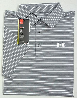 4a945658 NWT Under Armour Golf Heat Gear UPF 30 SS Grey Stripe Shirt Men SM Loose NEW