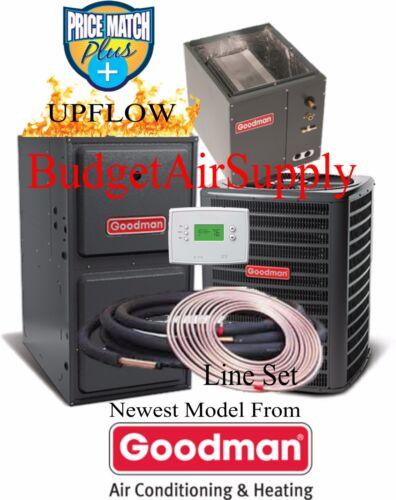 3 Ton Goodman 14 seer 96% 120K BTU Gas Furnace UPFLOW GMSS9601205DN+25ft LineSet