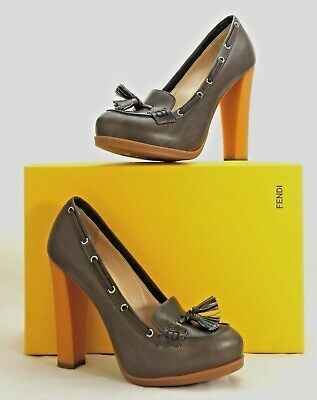 Fendi Italy Leather Pumps w/Tassel High Heels Platform 9.5 New $860