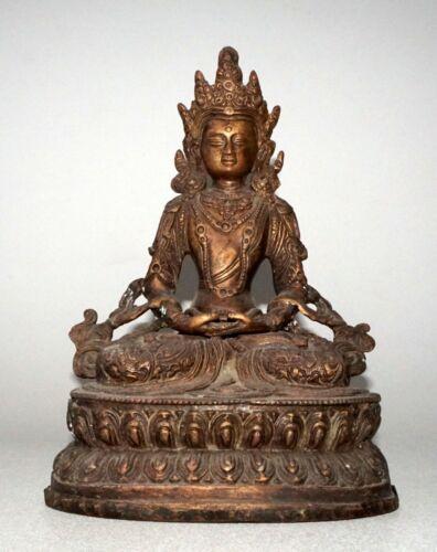 19/20C Nepalese Copper Seated Bodhisattva Buddhist Sculpture (NoN)