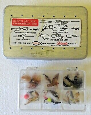 Vintage Perrine Fly Lure Box Loaded With 71 Fly Rod Fishing Lures