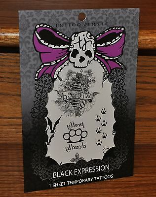 Halloween Black Expression Temporary Tattoos Designs Costume Party NEW