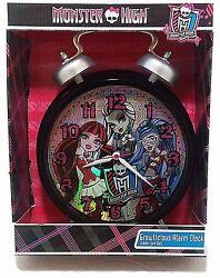 Monster High Growlicious Alarm Clock Jumbo Twin Bell NEW Quartz Pink & Black