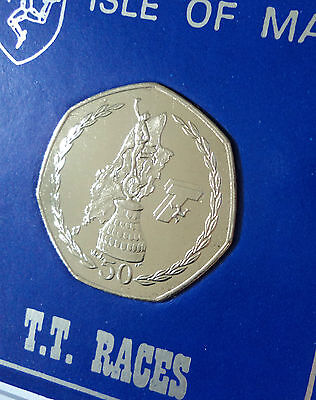 2007 Isle of Man IOM Tourist Trophy Motorcycle TT Races 50p BU Coin Gift in Case