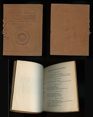 1910 STATE UNIVERSITY OF IOWA Leather Covers Stamped Seal Commencement Program