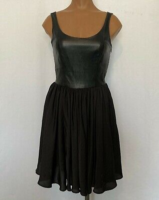 Marna Ro Women's Size XS Black Cocktail Party Dress Sleeveless Leather Bodice