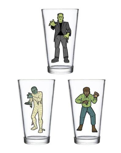 Frankenstein Wolfman Mummy Drinking Glasses Universal Monsters Halloween New